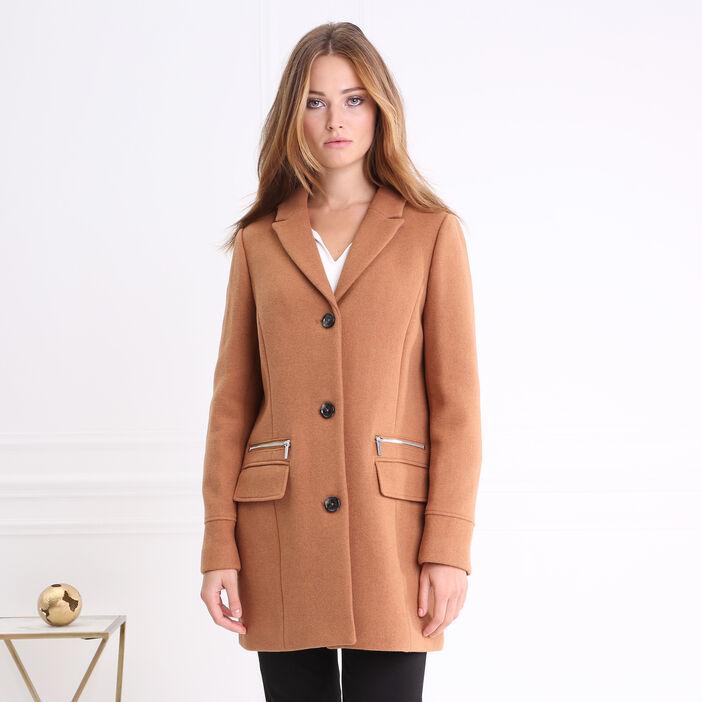 Manteau mi-long droit boutonnée camel femme