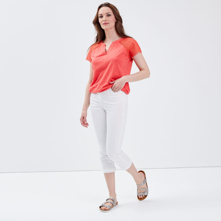Pantacourt droit taille haute blanc femme