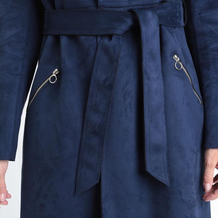 Trench droit ceinturé bleu marine femme