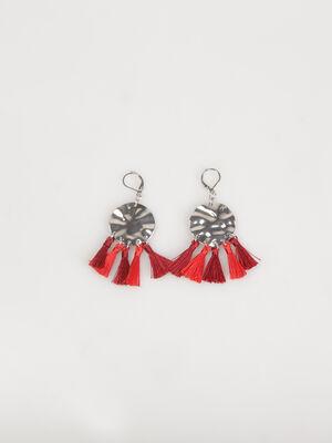 Boucles doreilles avec pompons rouge femme