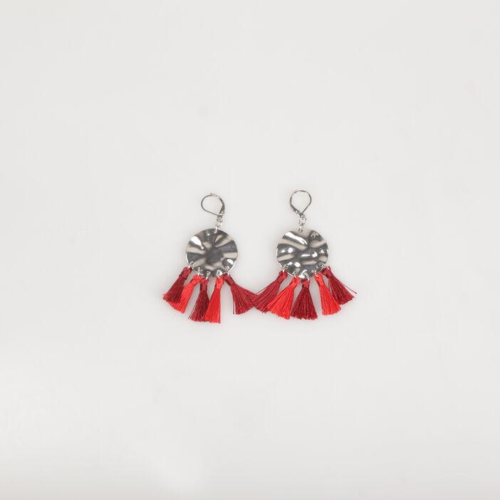 Boucles d'oreilles avec pompons rouge femme