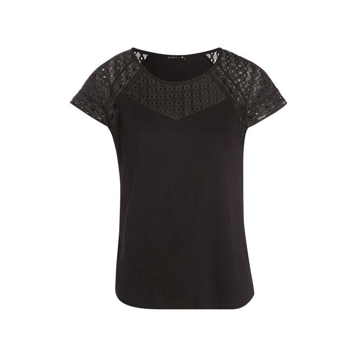 T-shirt bimatière manches courtes noir femme
