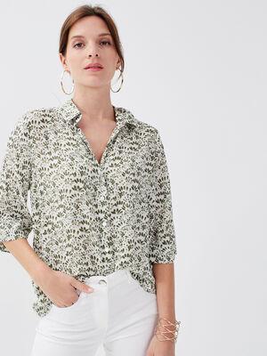Chemise manches courtes vert kaki femme