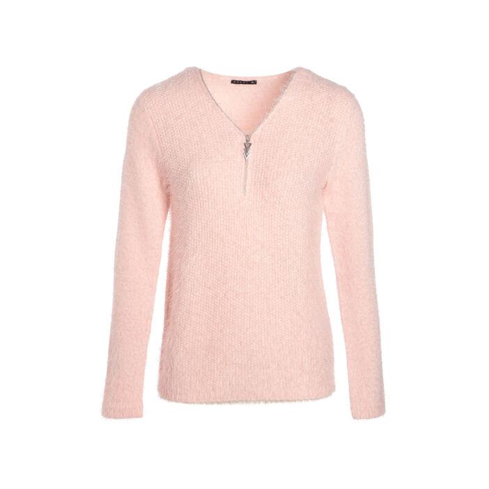 Pull manches longues zippé rose clair femme
