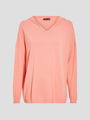 Pull manches longues rose corail femme