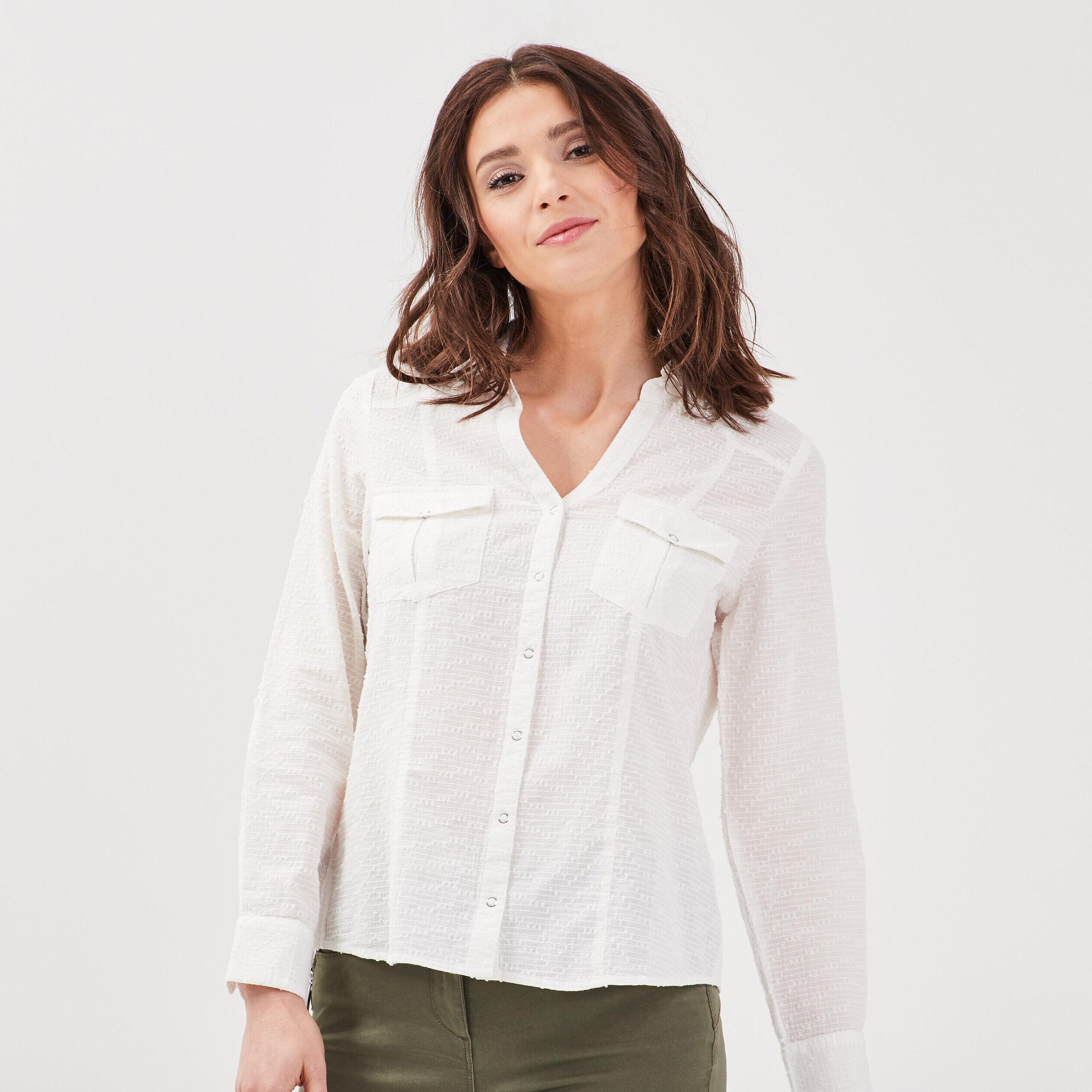 Femmes Tunique Chemisier Blouses shirt blanc crème multicolore taille 46