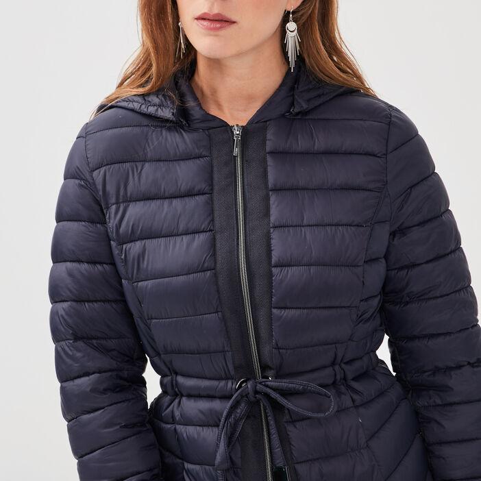 Doudoune droite à capuche bleu foncé femme