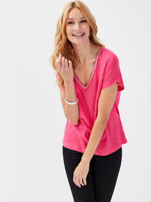 T shirt manches courtes rose framboise femme