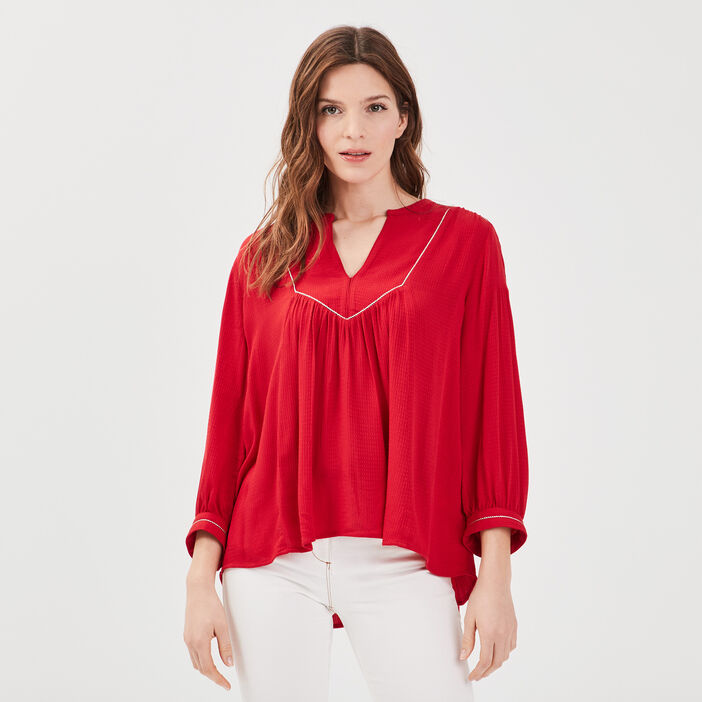 Blouse manches 3/4 rouge femme