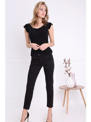Pantalon taille haute chaines noir femme