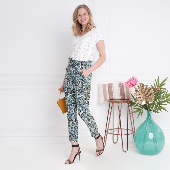 Pantalon taille standard blanc femme