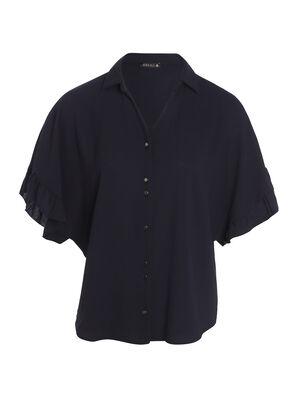 Chemise manches courtes bleu fonce femme