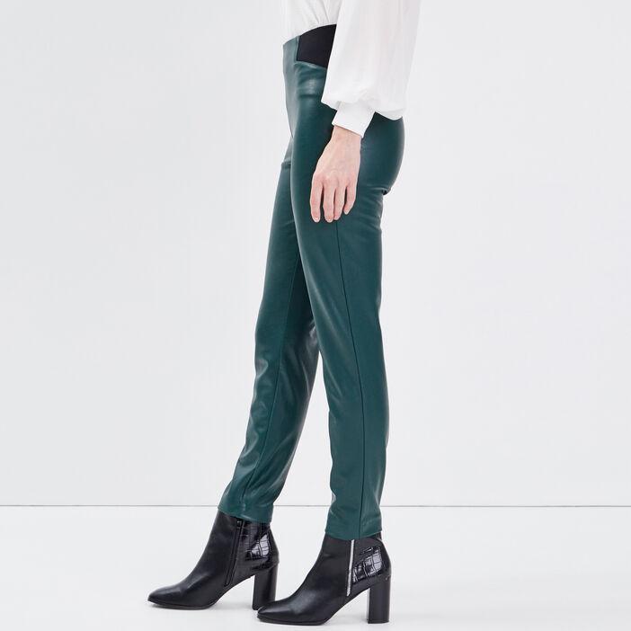 Tregging en similicuir vert foncé femme