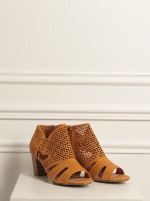 Sandales ajourees talon carre jaune or femme