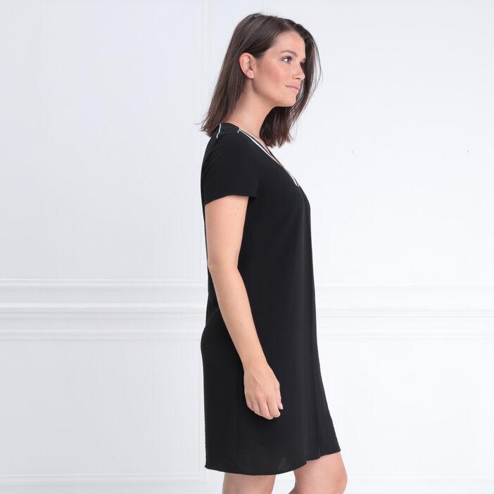 Robe manches courtes col en V noir femme