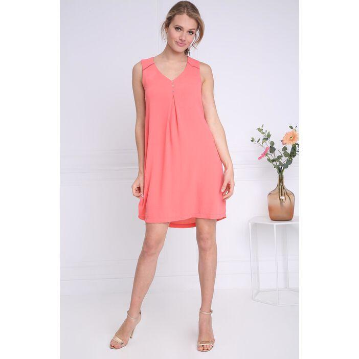 0515d6a5e26 Robe courte fluide col en V orange corail femme femme