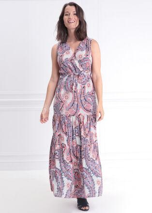 Robe longue fluide blanc femme