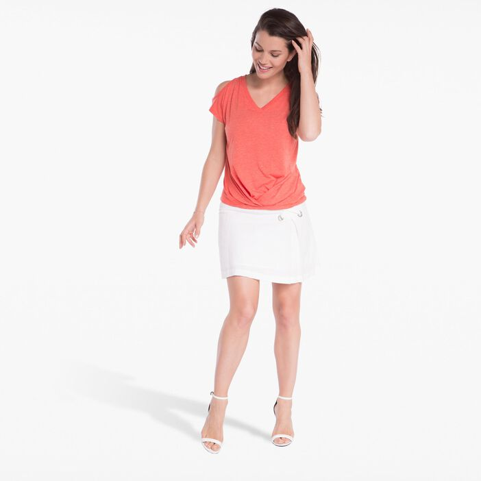 T-shirt ouvert sur épaules orange corail femme