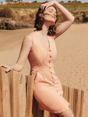 Robe droite boutonnee rose clair femme
