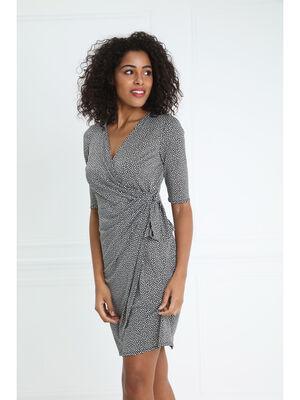Robe courte ajustee drapee taille nouee noir femme