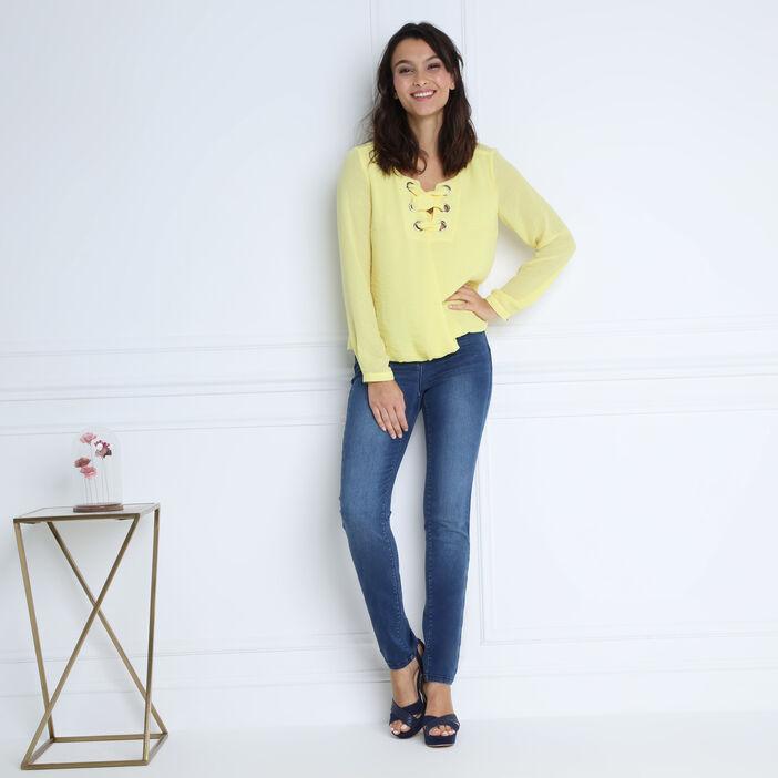 Chemise manches longues jaune pastel femme
