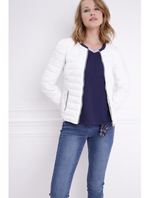 Doudoune droite zippee blanc femme