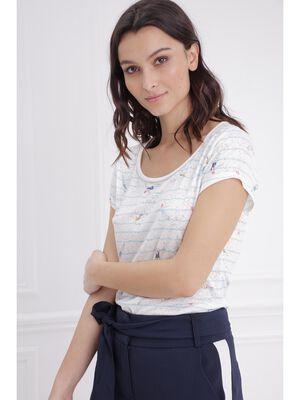 T shirt manches courtes avec baigneuses ecru femme