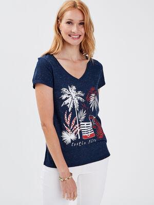 T shirt manches courtes bleu marine femme