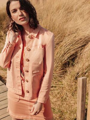 Veste droite boutonnee rose clair femme