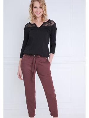 Pantalon taille standard marron fonce femme