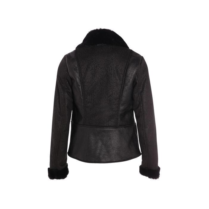 Manteau col cranté doublure fantaisie noir femme