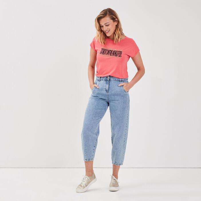 T-shirt manches courtes rose vif femme