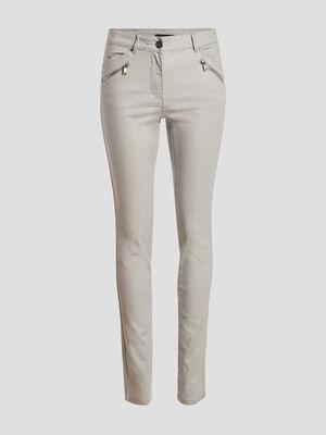 Pantalon ajuste details zippes gris femme