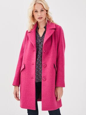 Manteau droit boutonne rose fushia femme