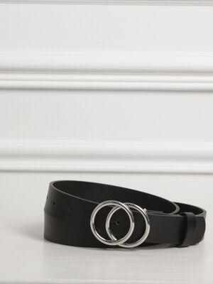 Ceinture lisse boucle anneaux noir femme