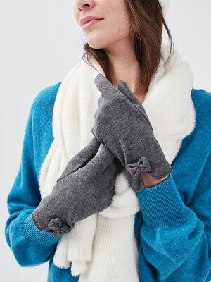 Gants avec detail noeud gris fonce femme