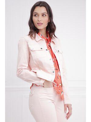 Veste ajustee courte boutonnee rose clair femme