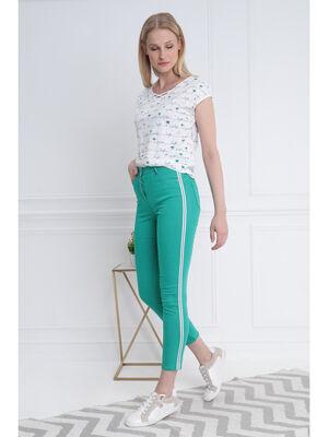 Pantalon taille standard vert menthe femme