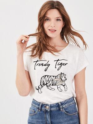 T shirt manches courtes ecru femme