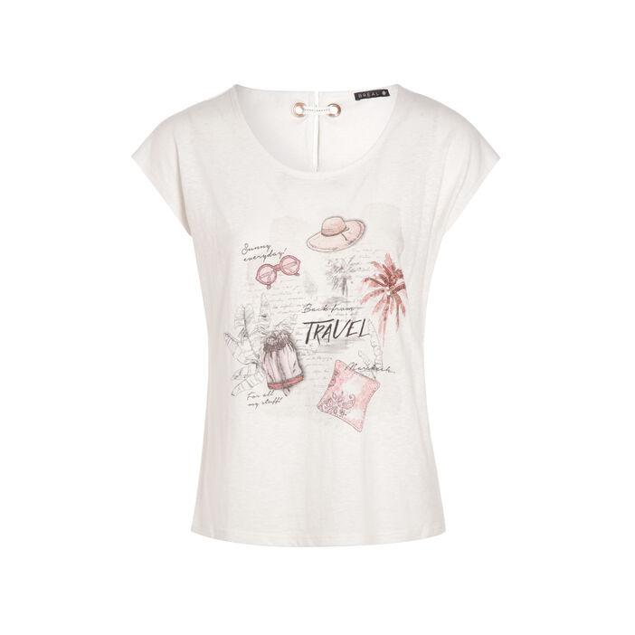T-shirt manches courtes ruban ivoire femme