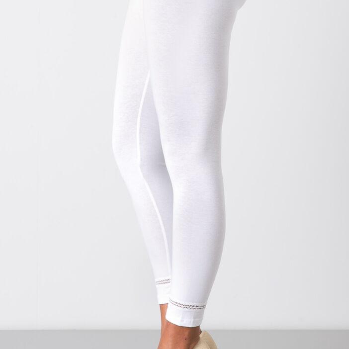 Legging  avec petite bande élastique blanc femme