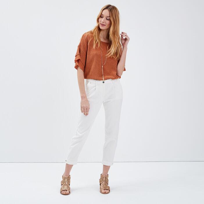 T-shirt manches 3/4 orange foncé femme