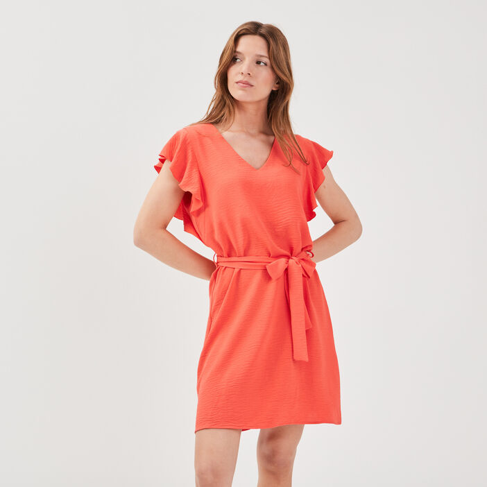 Robe droite ceinturée volantée rouge clair femme