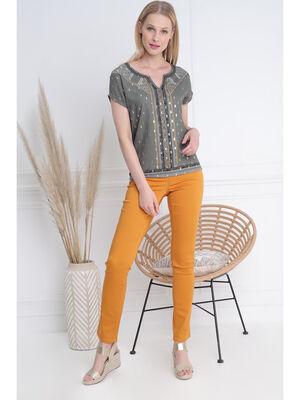Pantalon ajuste zip poches jaune moutarde femme