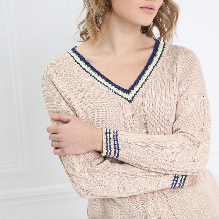 Pull manches longues col V beige femme