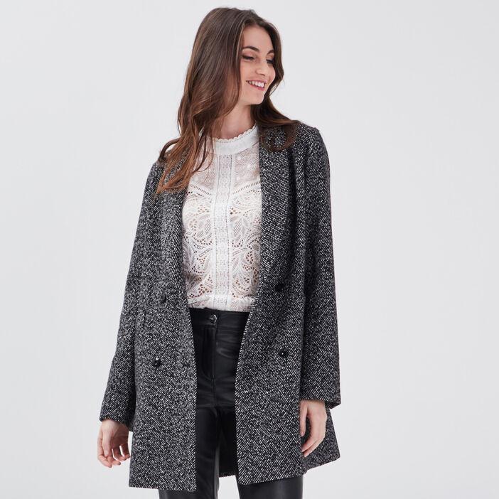 Manteau droit à col châle noir femme