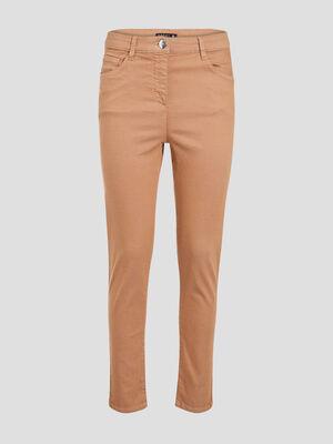 Pantalon leger toucher doux marron clair femme
