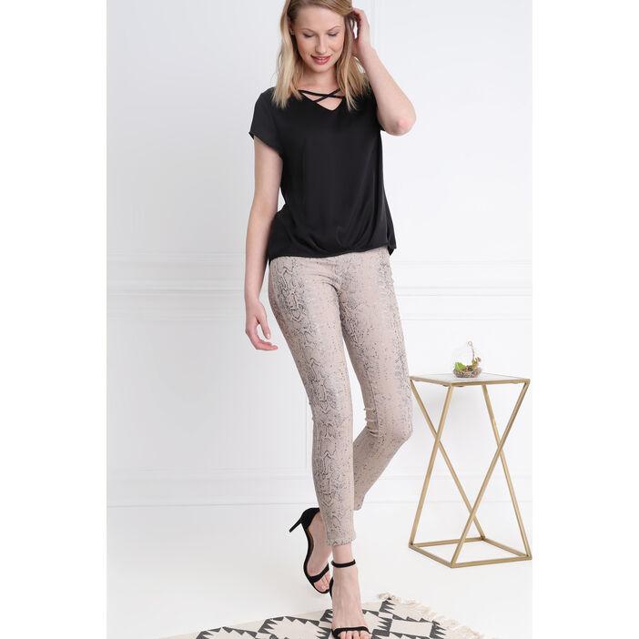 Pantalon imprimé serpent beige femme