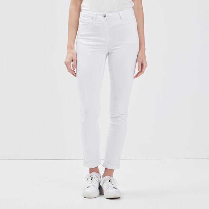 Pantalon ajusté 7/8ème blanc femme
