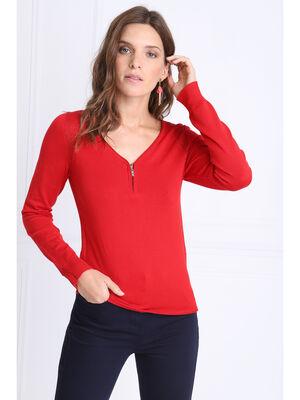 Pull manches longues col en V rouge femme
